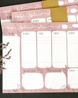 Týdenní plánovač A4 květinový růžový